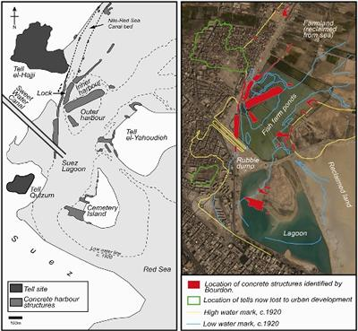 (Left): The extent of surviving ancient harbour infrastructure at Suez c. 1920 (Right): Bourdon's map, overlaid onto recent satellite imagery, showing the extent of the change to the site.