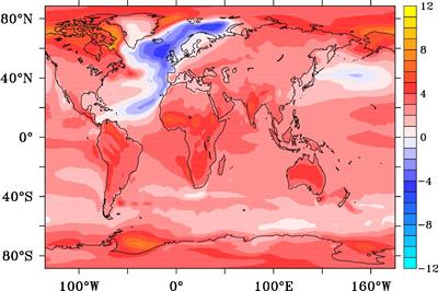 Temperature anomaly in degrees Celsius after 95 years from the onset of an AMOC collapse.