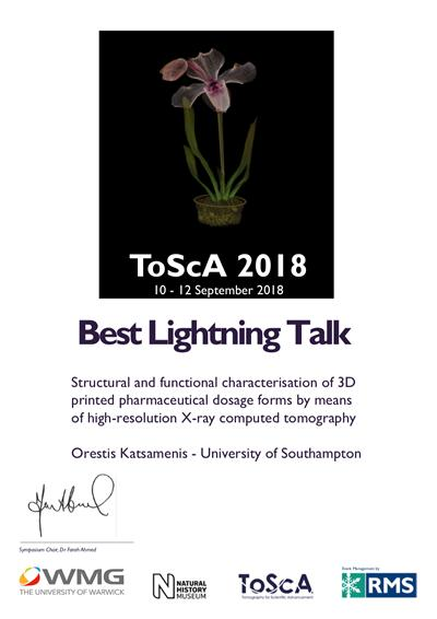 Best Lightning Talk Award to Dr. Orestis Katsamenis