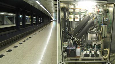 Particle collection device deployed at an underground railway station.