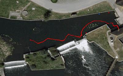 a path taken by a downstream moving adult eel as they approached the hydropower intake, obtained using 3D acoustic telemetry.