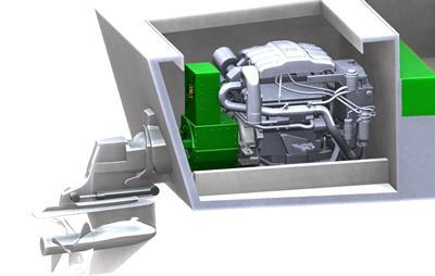 Computer-generated image of the hybrid engine