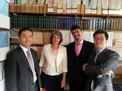 Presiding Judge Taehyeuk Lim, Prof. Yvonne Baatz, IML Director Filippo Lorenzon and Judge ChanYoung Yoon at the Institute of Maritime Law on 9th September 2013.