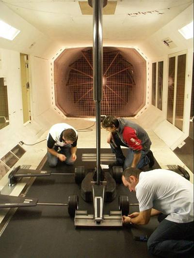 Race car testing in the RJ Mitchell wind tunnel at Southampton