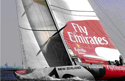 The Americas Cup boat 'Fly Emirates' sailing