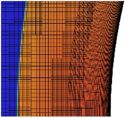 Shock resolution and surface representation with an overset strand/Cartesian AMR mesh