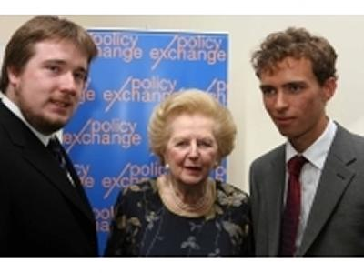 Lady Thatcher with James Rose (left) and James Hickling.
