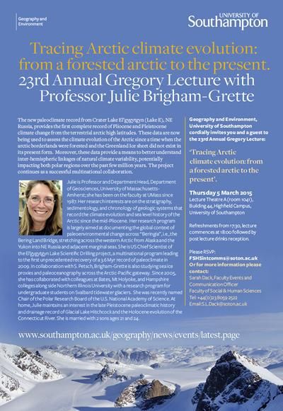 23rd Annual Gregory Lecture with Professor Julie Brigham-Grette