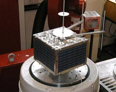 A nanosatellite is being tested on the University's shaker table
