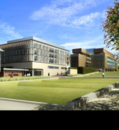A computer-generated image of how the new campus will look