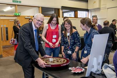 The Vice-Chancellor taking part in a hands-on activity