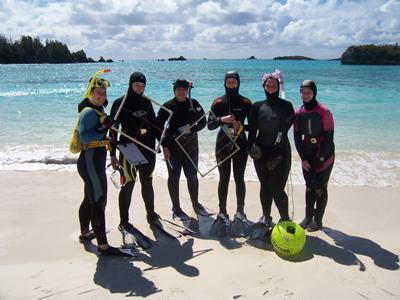 Students on fieldwork in Bermuda