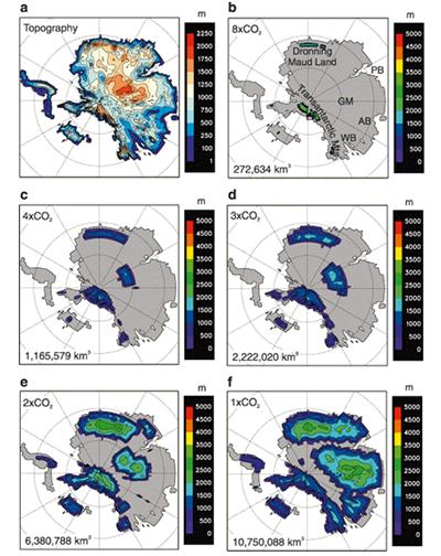 Modelling showing accumilation of ice on Antarctica as CO2 declines: (a) Early Cenozoic ice-free (m above sea level). (B to F) acculation of ice as CO2 declines. After DeConto and Pollard (2003)