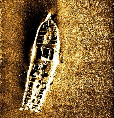 Side Scan Sonar image of Wreck, courtesy of London Array Ltd