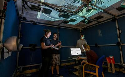 Students working in the audio laboratory