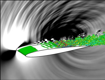 Aerofoil flow visualisation including the sound radiation