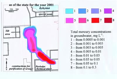 Plume of mercury contaminated groundwater