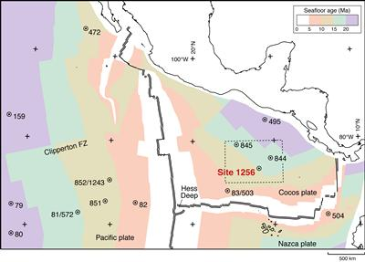 Location of Site 1256 with the age of basement indicated by isochrons (After Teagle et al., 2011 IODP Prel, Rpt., 335)