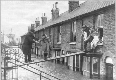 A family evacuated in Whitstable, Kent, during the 'Great Storm' of 1953. (Credit: Canterbury City Council 2015)