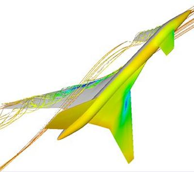 Flow around the TCR wind tunnel model at α=18.0 deg and M=0.12 computed using the PMB code (k-ω turbulence model)