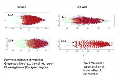 Showing the effect of wall temperature and Mach number on turbulent spots in high-speed boundary layers