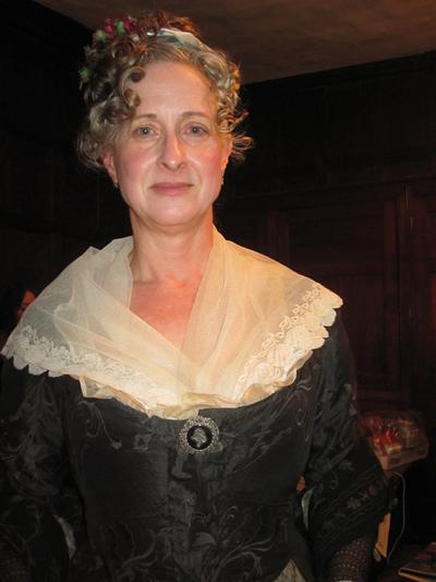 Prof Jeanice Brooks in costume for filming at Chawton House