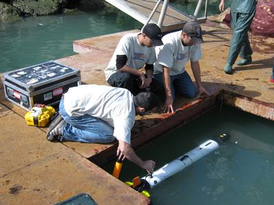 Testing the ballasting of the Ocean Server Iver2 AUV in Larache