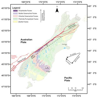 Map of the South Island of New Zealand. Note that the metamorphic grade of the rocks increases from east to west. Oblique convergence is still occurring along the Alpine Fault.