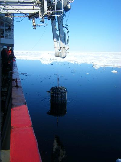Seawater collection in the Arctic Ocean, which has been contaminated by multiple nuclear sources. (Source: B.Russell)