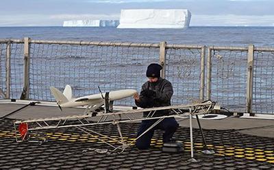 SULSA UAV on deck of HMS Protector