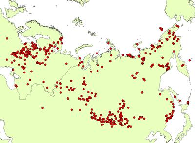 Pollen sites in the database