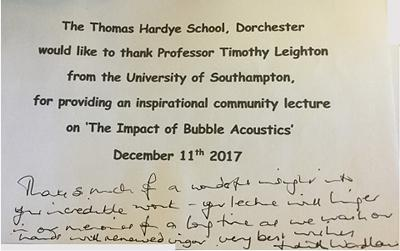 Thank you card for Prof Leighton
