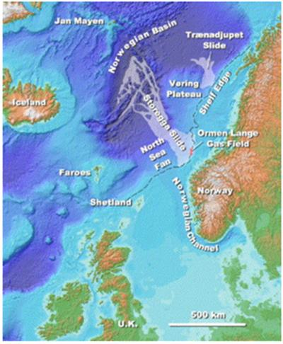 Location and extent of the huge Storegga Slide offshore Norway that occurred about 8,200 years ago