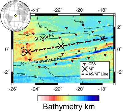 Proposed seismic and MT deployment plan, from the mid-Atlantic Ridge (MAR) to 40 My old seafloor.