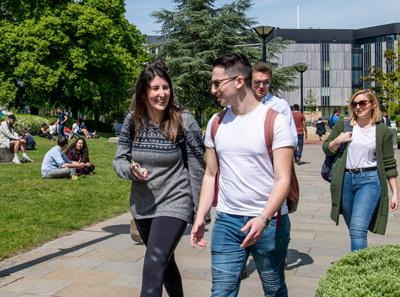 Students walking on Highfield Campus outside Life Sciences