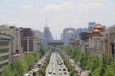 Ancient city wall of Xi'an and recently built high-rise buildings