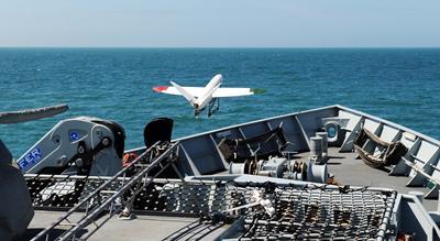 UAV launch from HMS Mersey