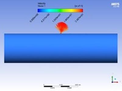 Numerically simulated leak on plastic pipe