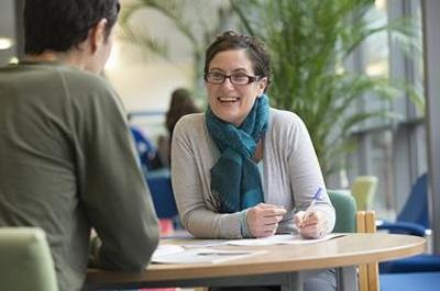 Enabling Services advisor talking to a student