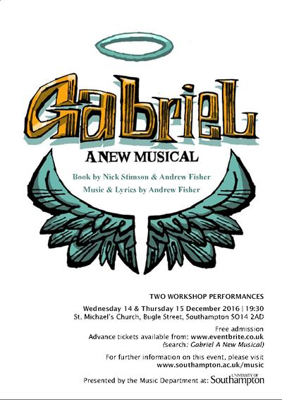 Poster for Gabriel, a new musical, December 2016