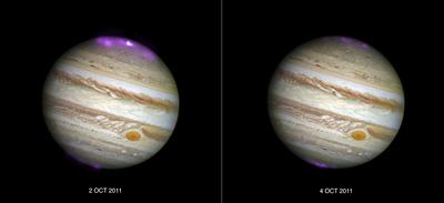 Jupiter's X-ray emission (in magenta and white)