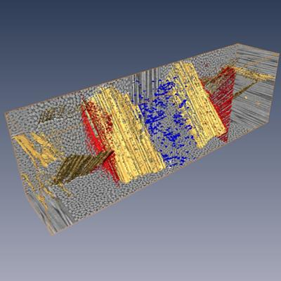 3D rendering of fibre orientation and damage observed in laminates