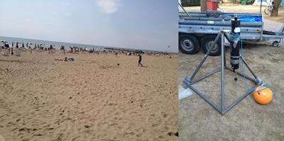 (a) Cavallino beach; and (b) the recovered Valeport & Tripod