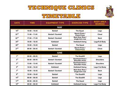 Timetable for Technique Clinics