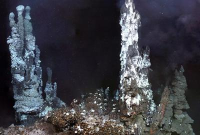 'Ivory Towers': Image of a set of black smokers on the ocean floor