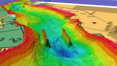 Multi-beam sonar measurements of River Hamble bathymetry (Hampshire, UK)