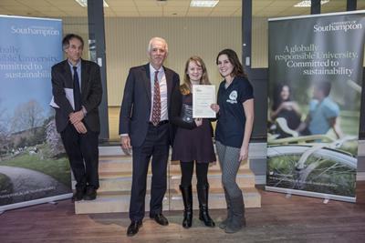 Sarah winning her award