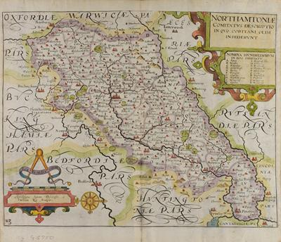 Christopher Saxton's maps of Northamptonshire, engraved by William Kip (c.1637) Rare Books cq G 5750