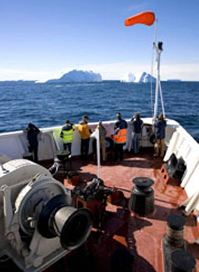 The JOIDES Resolution operating in Antarctic shelf waters