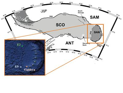 Location map with ESR segments E2 and E9, and the Kemp Caldera (after Frezdorff et al., 2002)